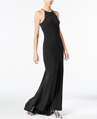 Calvin Klein Crepe Sleeveless Halter Gown $199 thestylecure.com
