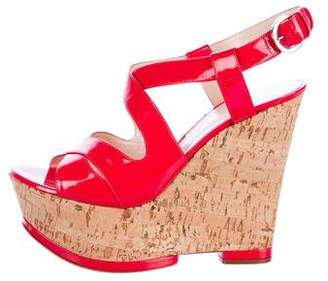 Casadei Slingback Platform Wedge Sandals