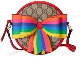 Gucci Girl's Rainbow Bow Round Monogram Crossbody Bag