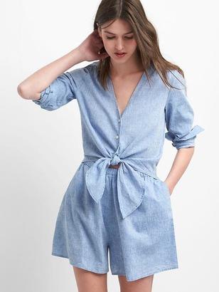 Linen-cotton tie romper $69.95 thestylecure.com