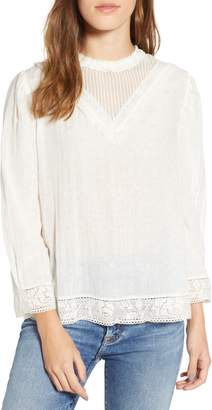Hinge Lace Detail High Neck Top