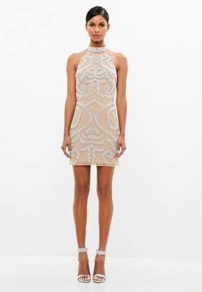 Missguided Nude Embellished Mini Dress