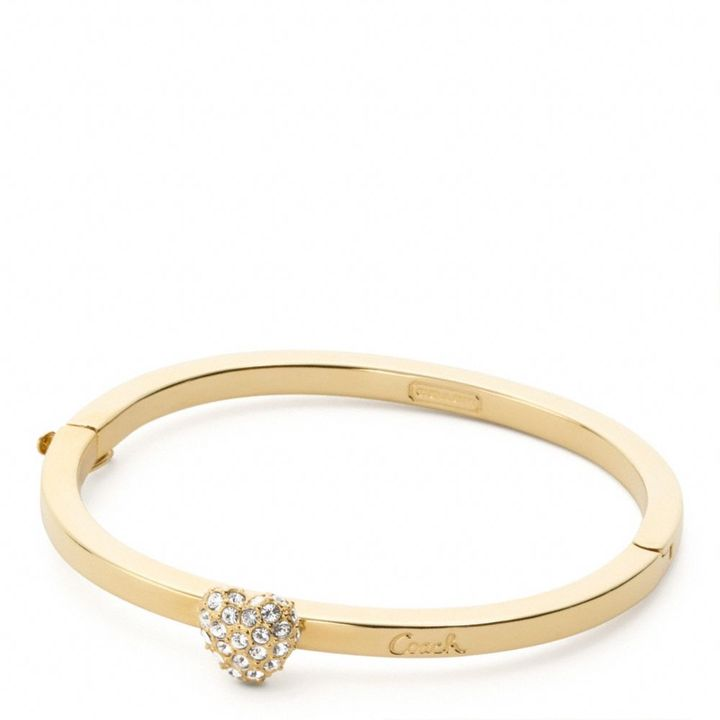 Pave Heart Hinged Bangle