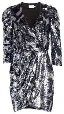 Tanya Taylor Zoey Sequin Camo Wrap Dress