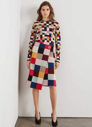 St. John Asymmetrical Color Blocked Wool Skirt