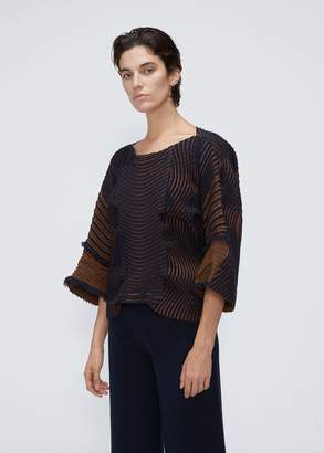 Issey Miyake Long Sleeve Stag Pleat Top