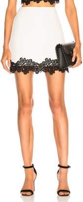 David Koma Lace Trim Mini Skirt in White & Black | FWRD