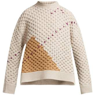 Raf Simons Loose Knit Wool Sweater - Womens - Beige Multi