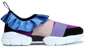 Emilio Pucci Ruffle-Trimmed Satin Scuba And Suede Sneakers