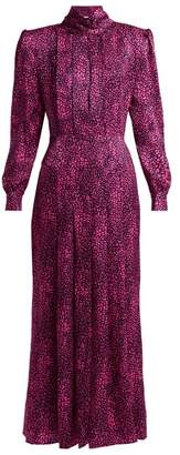 Alessandra Rich - Leopard Print Silk Satin Dress - Womens - Pink Multi