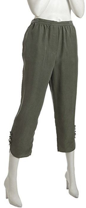 Marc by Marc Jacobs dusk green silk 'Patton' cropped pants