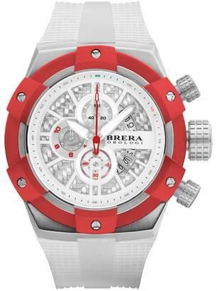 Brera Orologi Men's Supersportivo White, Steel & Red 48mm