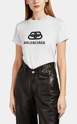 Balenciaga Women's Logo Cotton Crop T-Shirt - Black