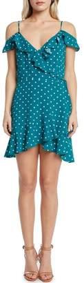 Willow & Clay Polka Dot Cold Shoulder Wrap Dress