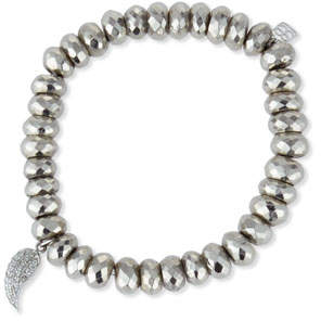 Sydney Evan Pyrite Bead Bracelet w/ 14K Gold Diamond Wing Charm