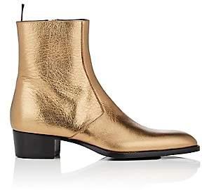 Saint Laurent Men's Wyatt Leather Boots-Gold