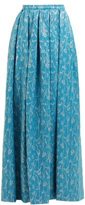 Rochas High Rise Floral Brocade Maxi Skirt - Womens - Blue Multi