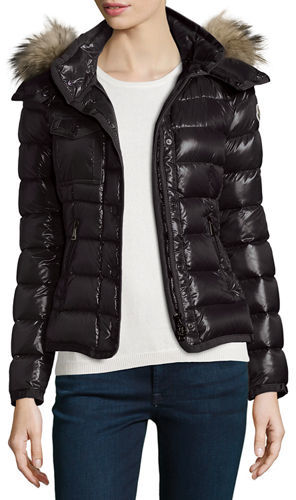 Moncler Moncler Armoise Shiny Quilted Jacket w/Fur Hood