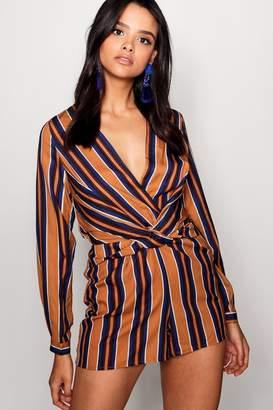 boohoo Twist Front Stripe Playsuit