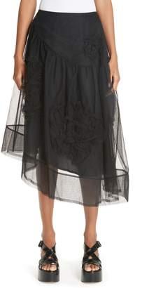 Simone Rocha Ruched Flower Tulle Skirt