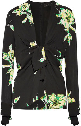 Proenza Schouler - Knotted Floral-print Silk-crepe Blouse - Black $810 thestylecure.com