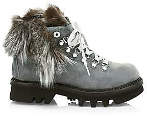 Montelliana 1965 Women's Aurora Fox Fur-Trim, Shearling-Lined Suede Hiking Boots