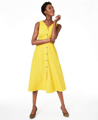 Alfani V-Neck Sleeveless Button-Down Dress