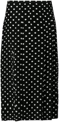 Rixo London polka dot pleated skirt