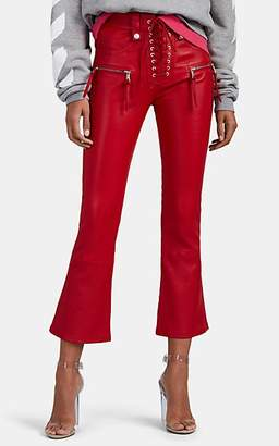 Taverniti So Ben Unravel Project Women's Plonge Leather Lace-Up Crop Flared Jeans - Red