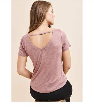 Dynamite V-Back Tee with Strap ROSE TAUPE MIX