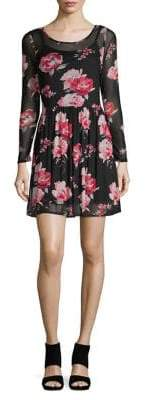 Lord & Taylor Design Lab Floral Mesh Fit-&-Flare Dress