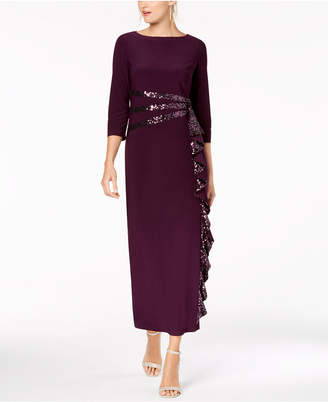 R & M Richards Petite Cascading Sequin-Embellished Dress