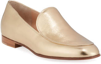 Gianvito Rossi Metallic Leather Flat Loafers