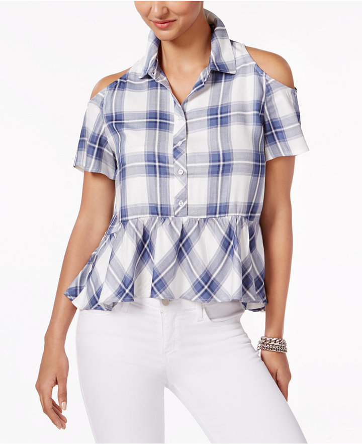 Buffalo David Bitton Satyana Plaid Cold-Shoulder Top