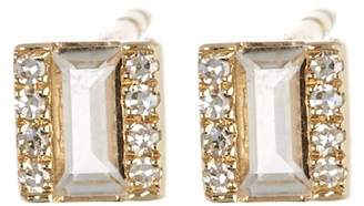 Ef Collection 14K Yellow Gold White Topaz Brick & Pave Diamond Stud Earrings