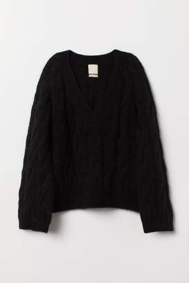 H&M Cable-knit Wool-blend Sweater - Black