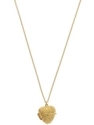 Alex Monroe Gold-Plated Victorian Style Swallow Engraved Locket Necklace
