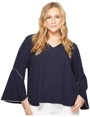 Calvin Klein Plus Plus Size V-Neck with Flare Sleeve Blouse Women's Long Sleeve Pullover