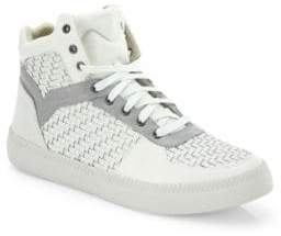 Diesel Spaark Woven Leather Mid-Top Sneakers