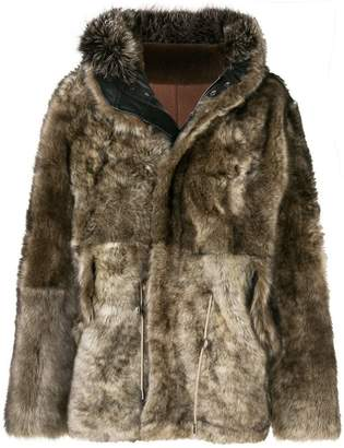 Yves Salomon Army fox fur and lamb fur coat