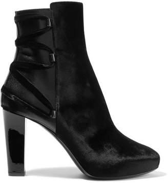 Lanvin Lace-up Leather-trimmed Velvet Ankle Boots - Black
