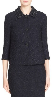 Women's St. John Collection 'Midnight' Metallic Knit Jacket With Hand Beaded Collar & Cuffs $2,195 thestylecure.com
