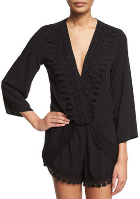 La Blanca Crocheted-Trim Long-Sleeve Romper Coverup $95 thestylecure.com