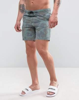 Asos Swim Shorts With Acid Wash Camo Print In Mid Length