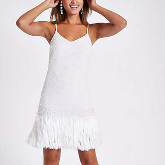 River Island White pearl fringe hem slip dress
