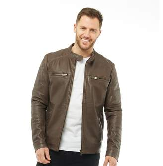 Onfire Mens Leather Jacket Espresso