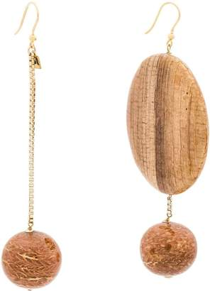 Rosantica brown Bambu asymmetric wood earrings