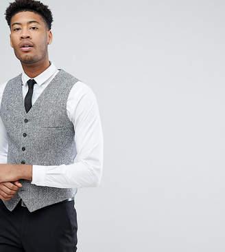 Heart & Dagger TALL Skinny Vest In Herringbone Tweed