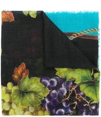 Dolce & Gabbana printed frayed scarf