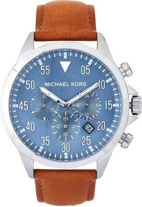 Michael Kors MK8490 Blue & Tan Gage Leather Strap Watch